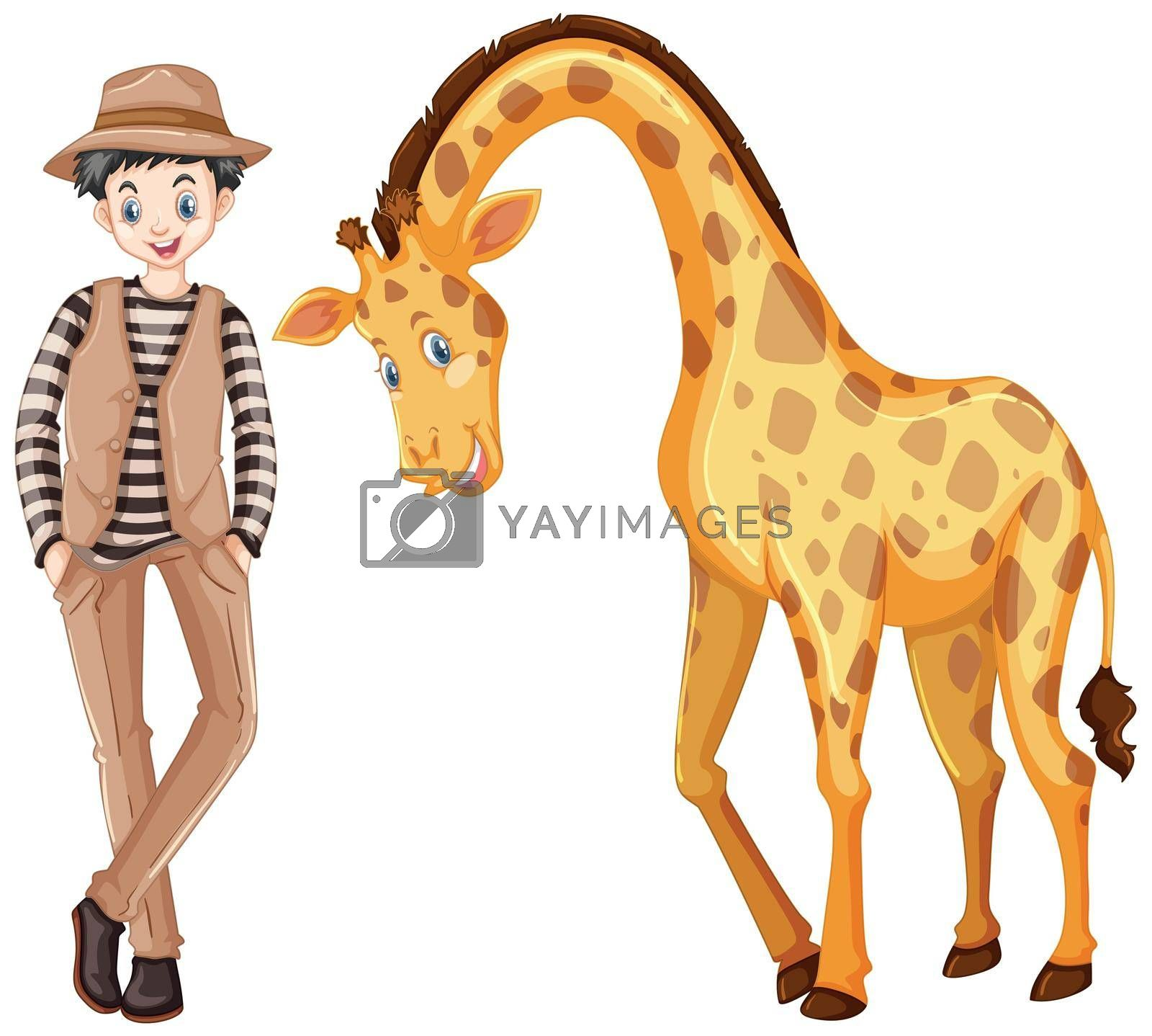 Tall man and cute giraffe illustration