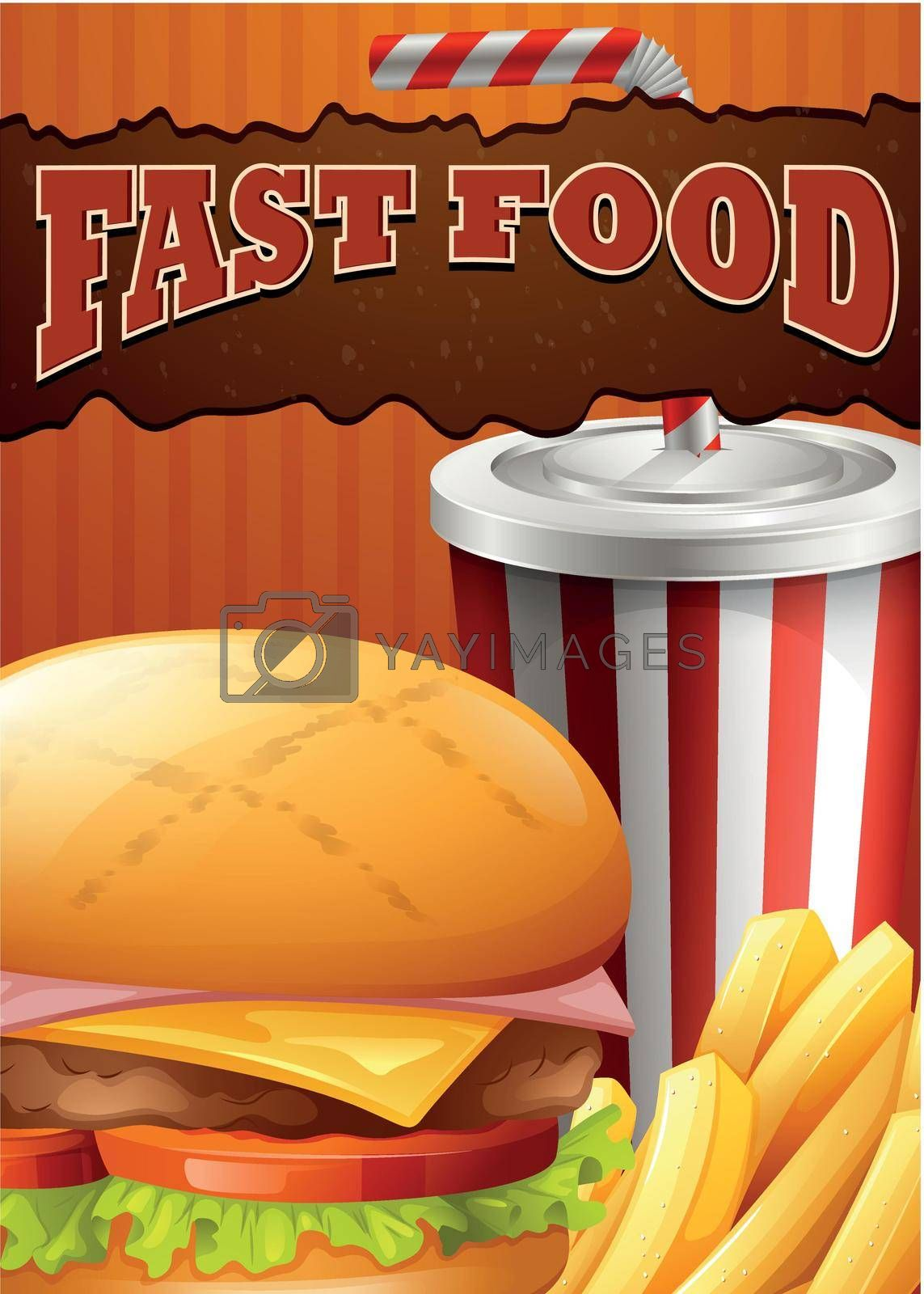 Fast food poster with hamburger and drink illustration