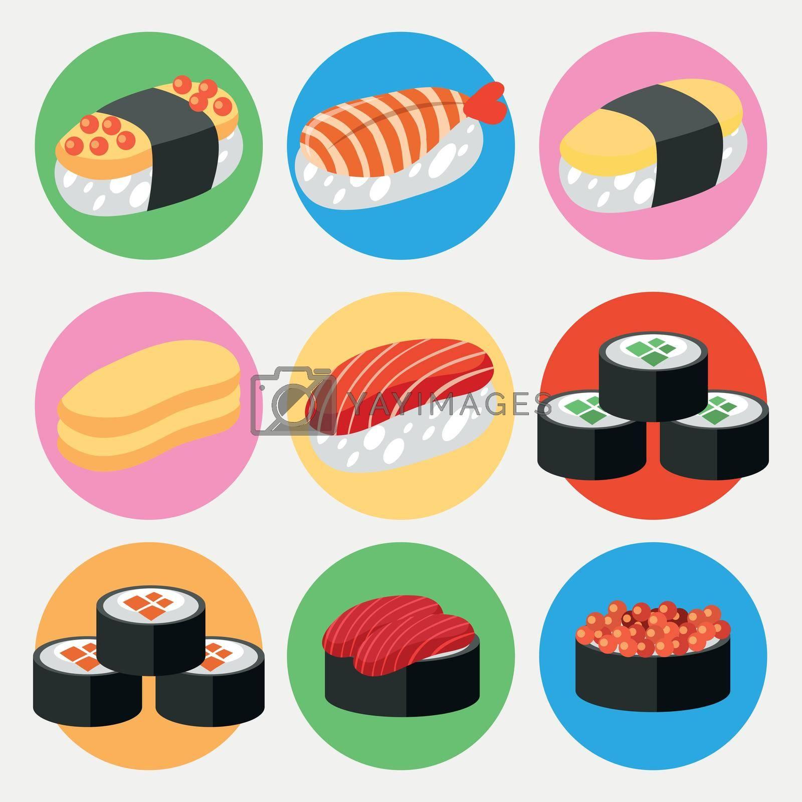 A Set of Japanese Sushi illustration