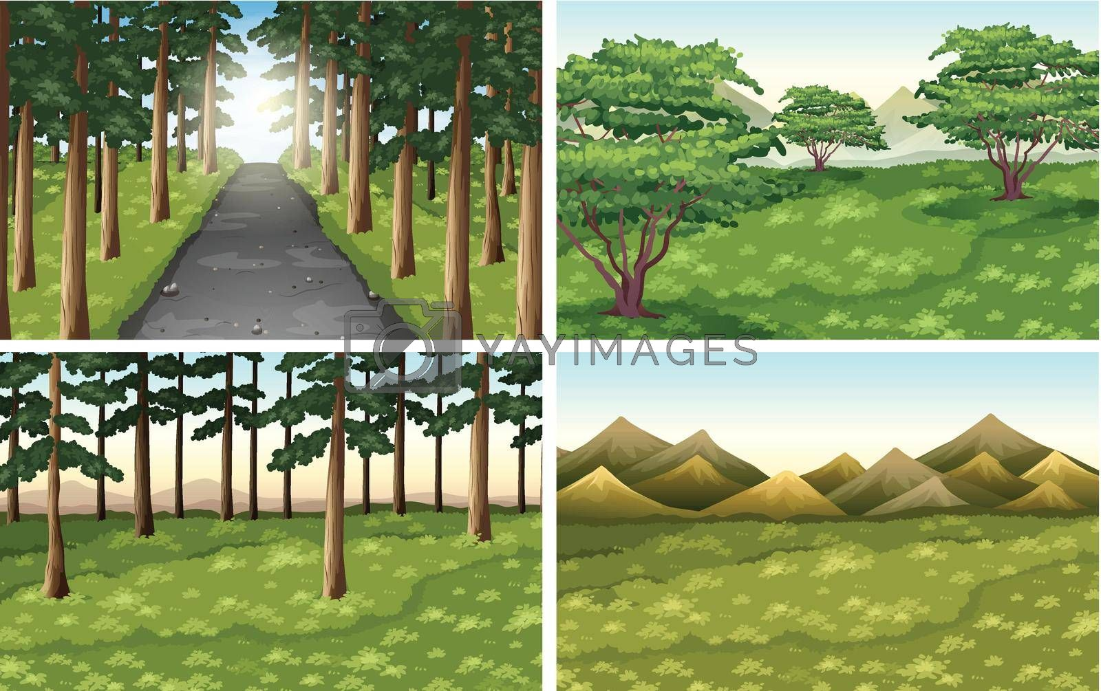 Set of different nature outdoor scenes illustration