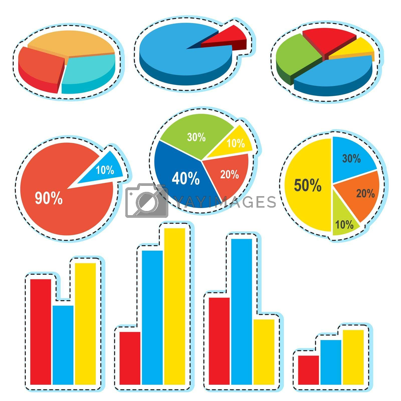 Different designs for piecharts and barcharts illustration