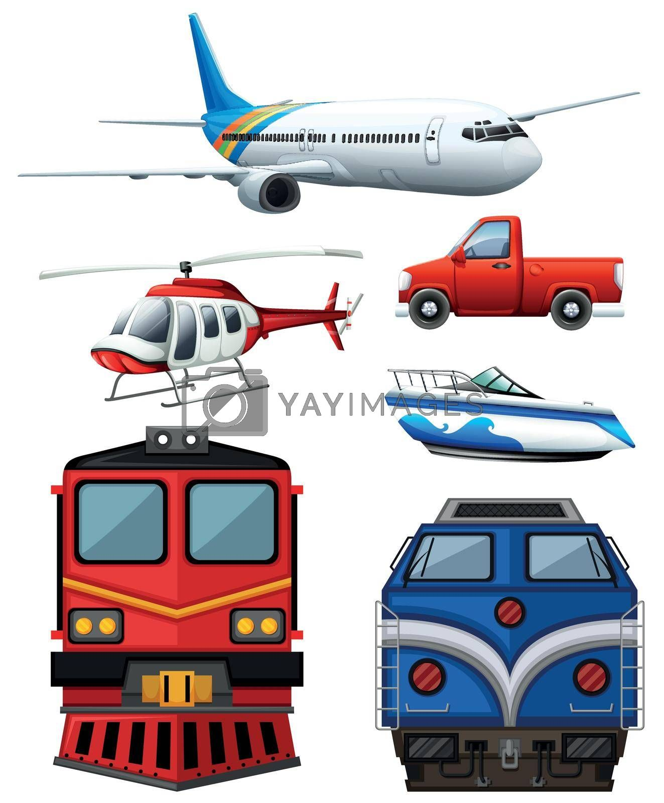Different types of transportation illustration