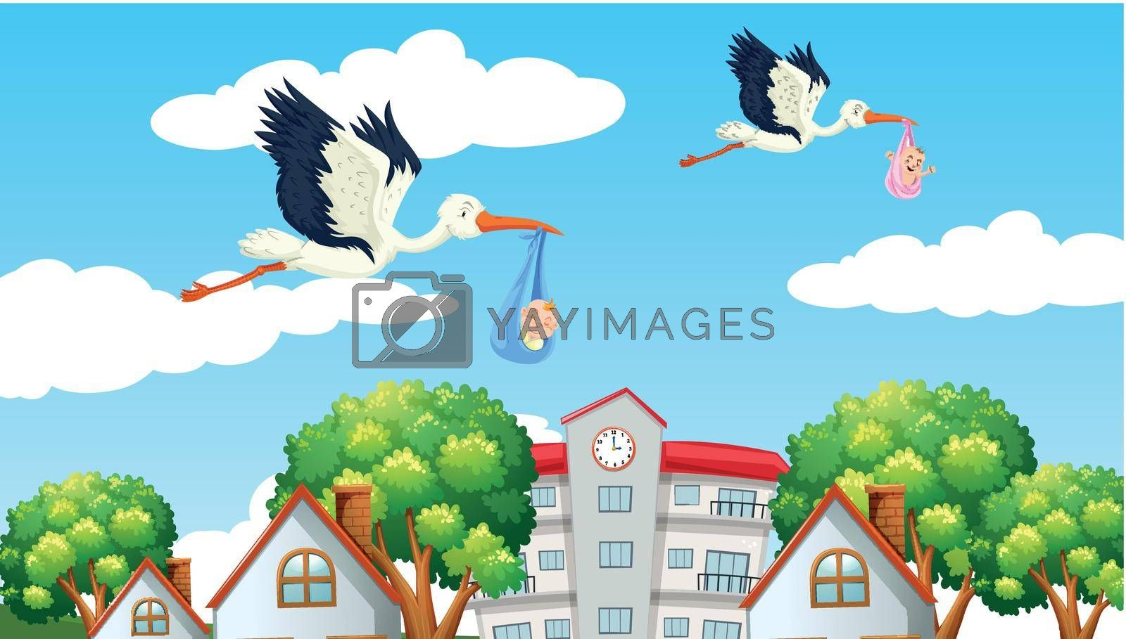 Royalty free image of Birds delivering babies in the neighbor by iimages