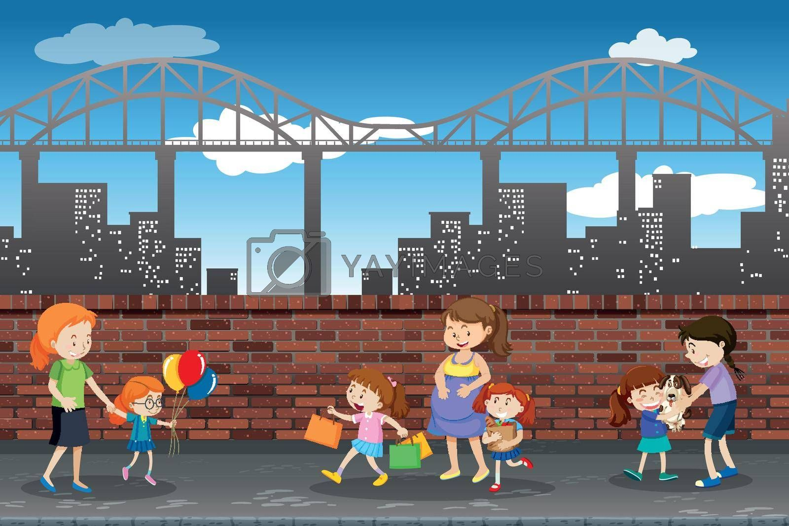 Royalty free image of People in the town by iimages