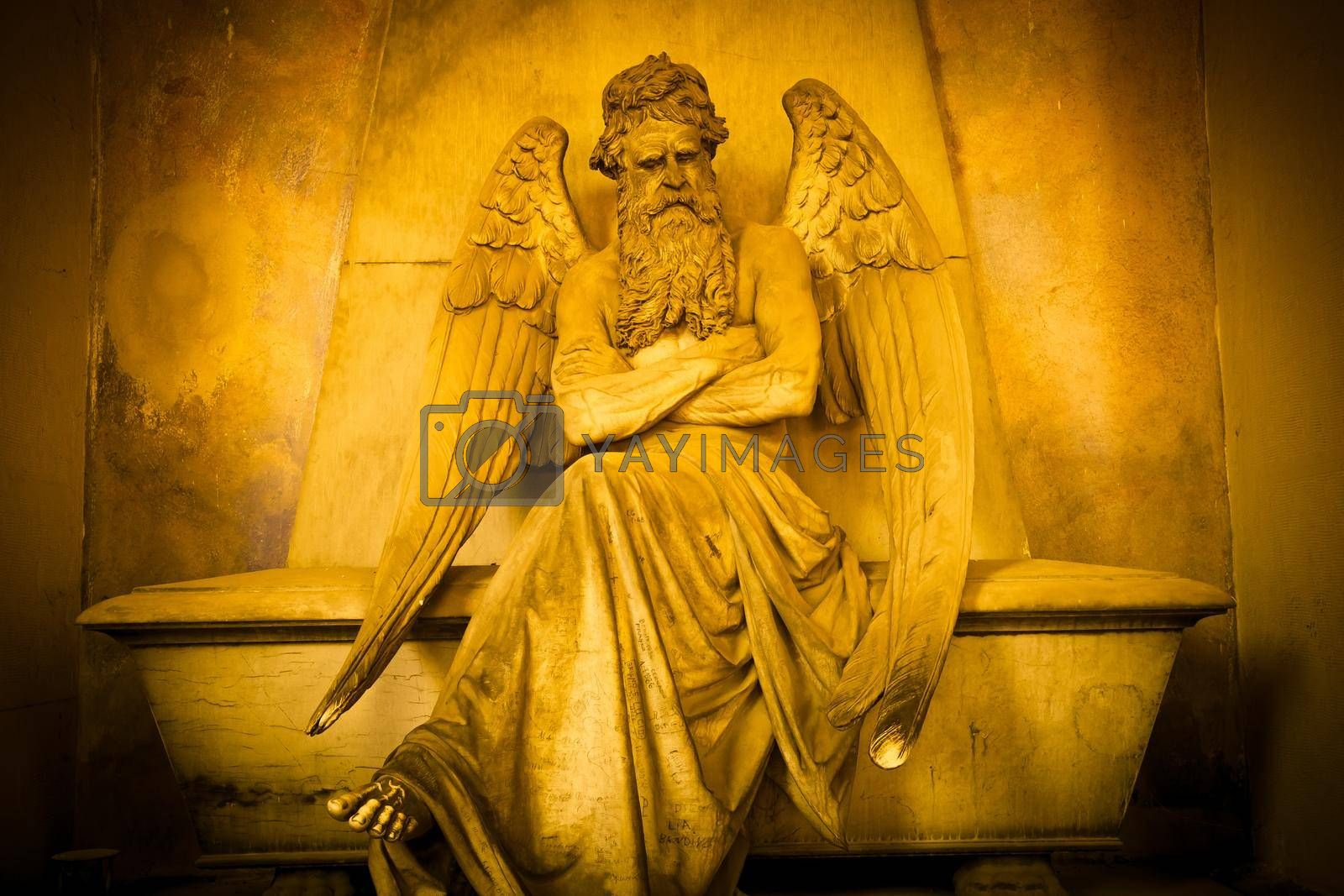 Royalty free image of Statue of angel on an old tomb located in Genoa cemetery - Italy by Perseomedusa