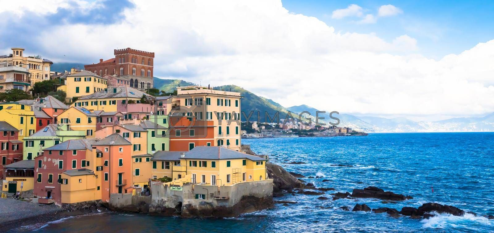 Royalty free image of Boccadasse marina panorama  in Genoa, Italy by Perseomedusa