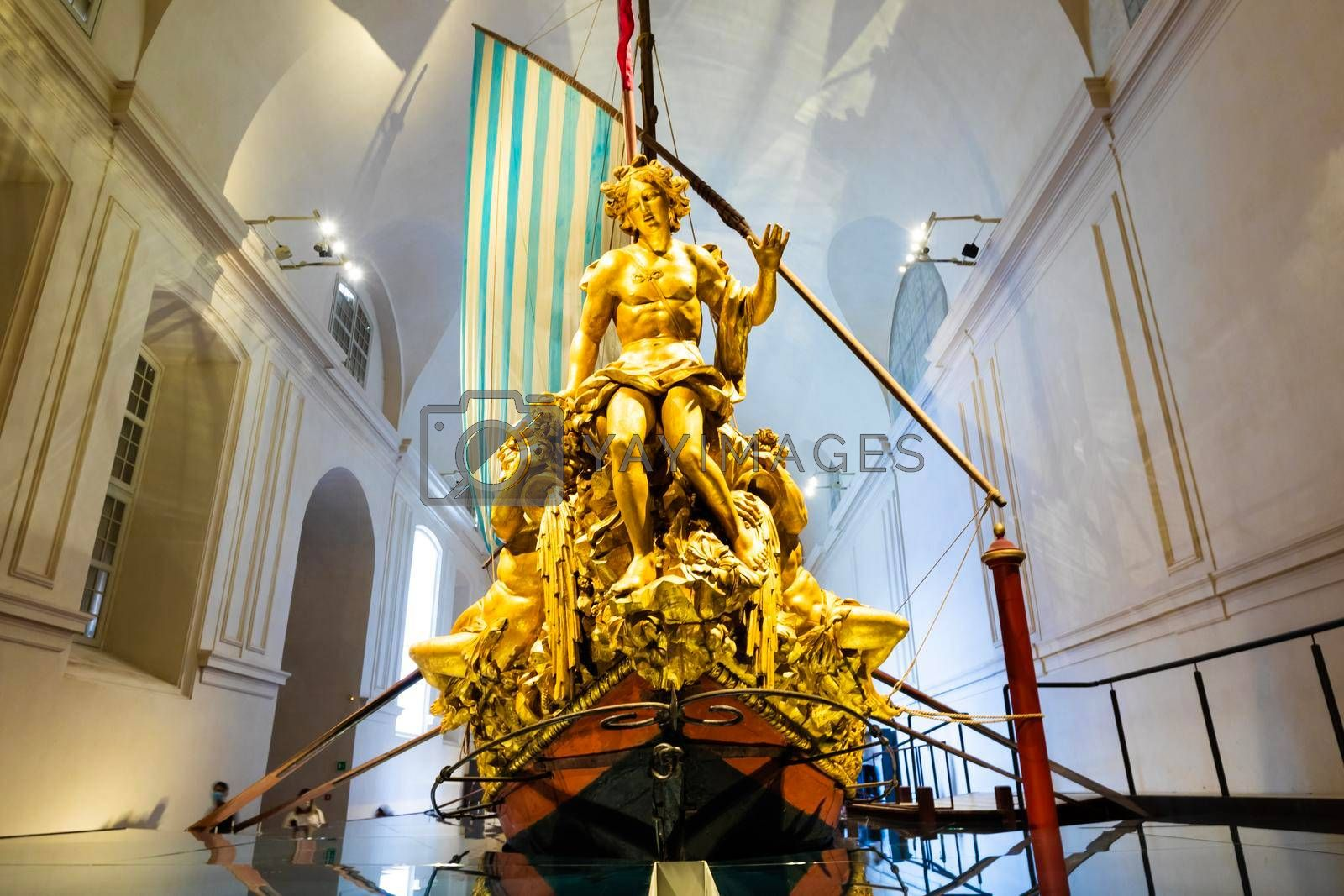 Royalty free image of The Bucentaur (Bucintoro). Antique Royal ship of Savoia family. Venaria Reale, Italy by Perseomedusa