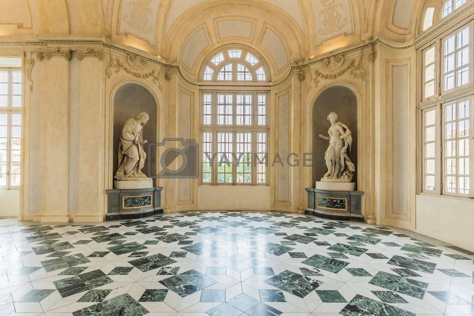 Royalty free image of Corridor with floor made of luxury marbles. Plenty of elegance for this Italian interior in Venaria Reale, Piedmont region - Italy by Perseomedusa