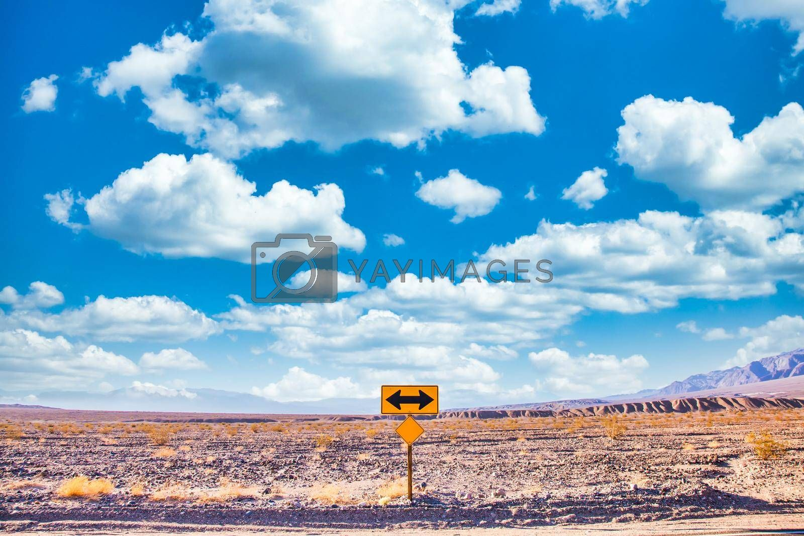 Royalty free image of Directional sign in the desert with scenic blue sky and wide horizon. Concept for trip, freedom and transportation.  by Perseomedusa