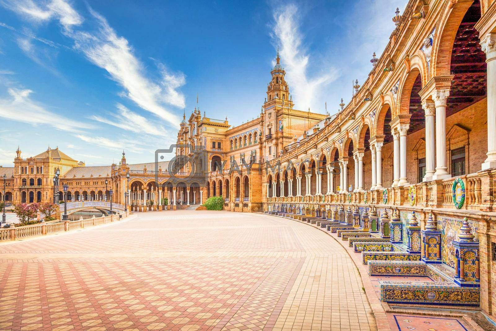 Royalty free image of Spain Square in Seville, Spain. A great example of Iberian Renaissance architecture during a summer day with blue sky by Perseomedusa