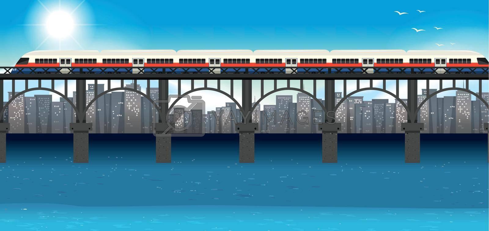 Modern train urban transportation illustration
