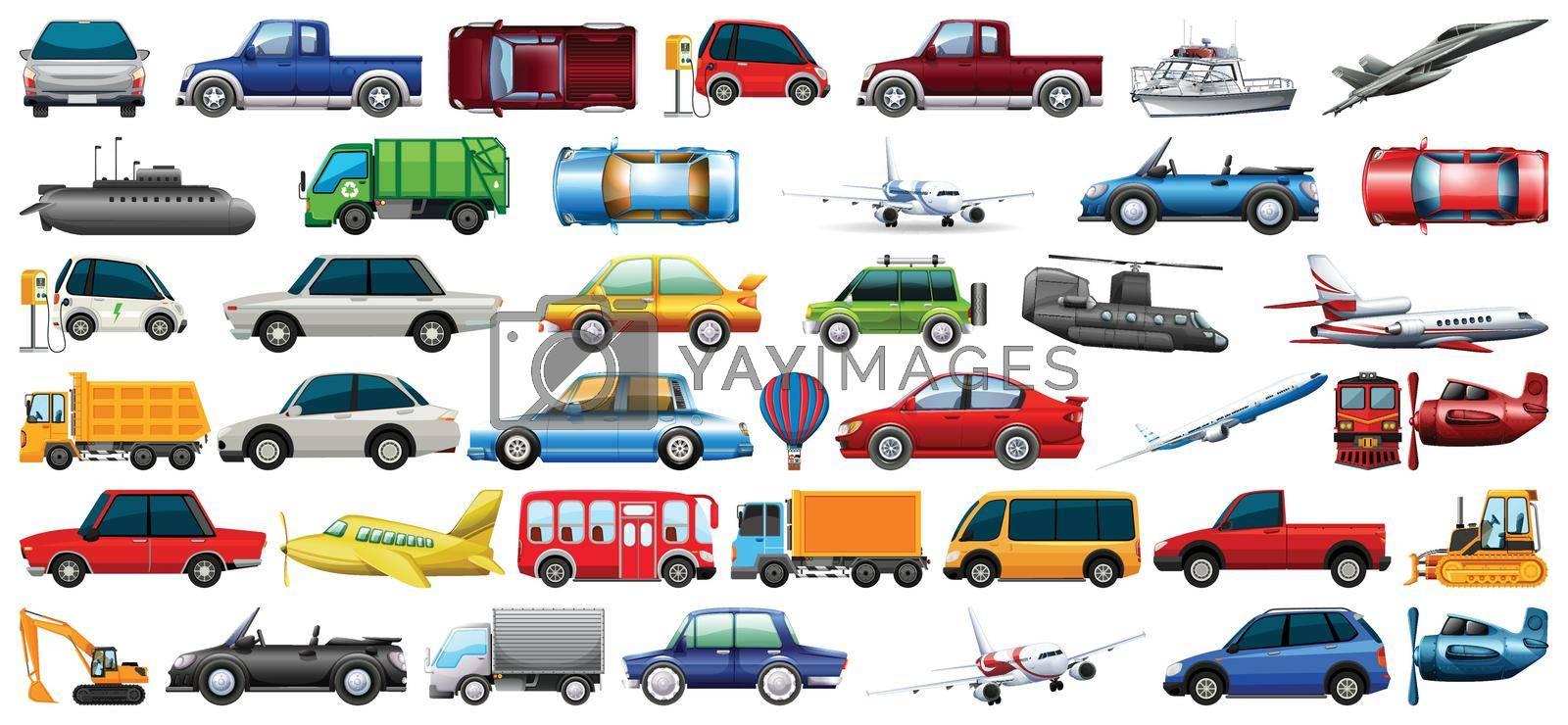 Set of transportation vehicle illustration