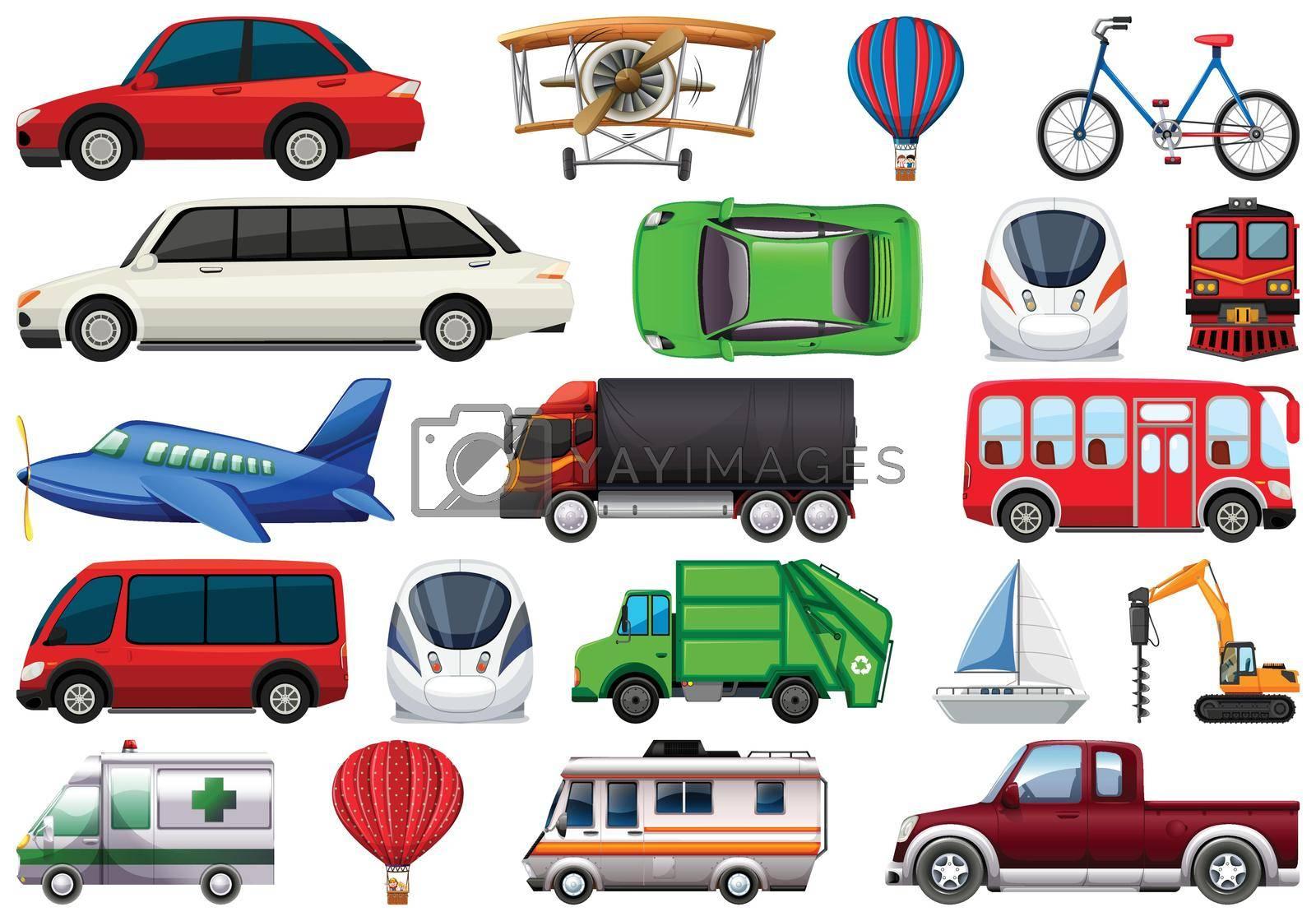 Set of transportation vechiles illustration