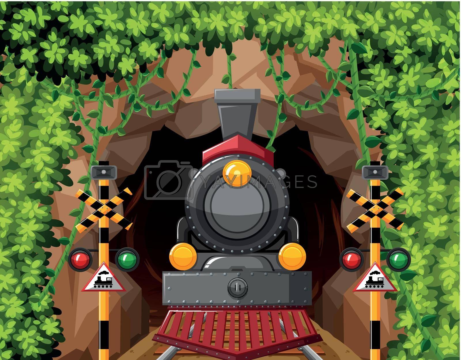 A train in tunnel scene illustration
