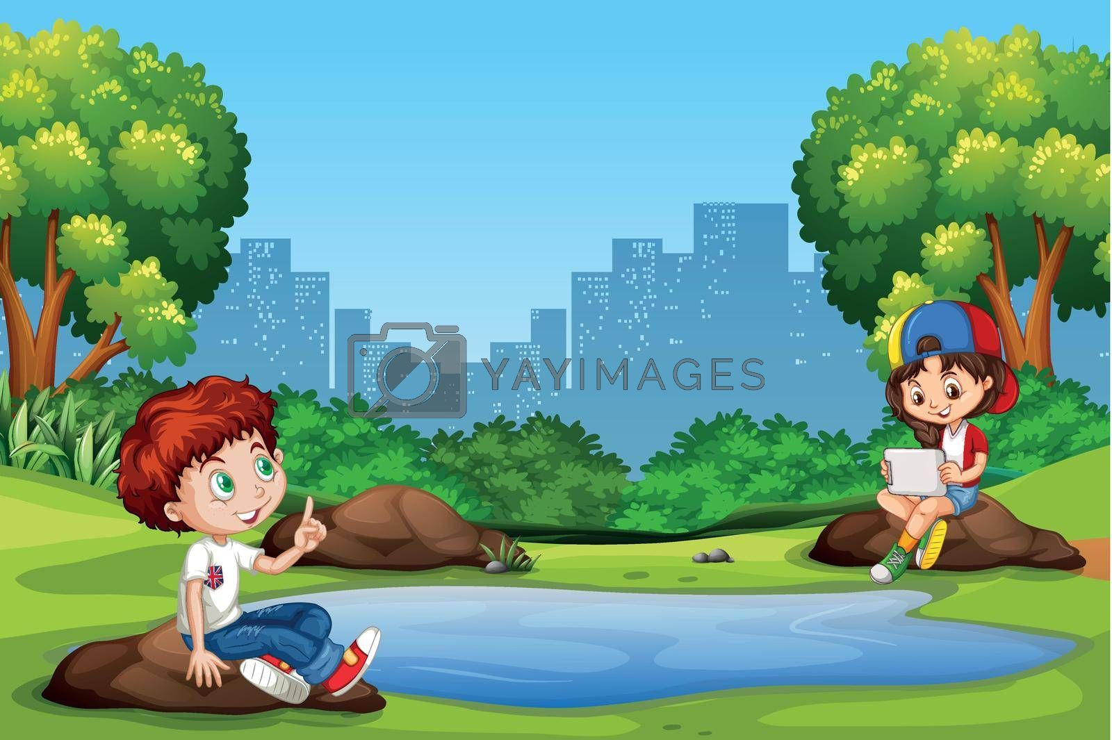 Boy and girl at the park illustration