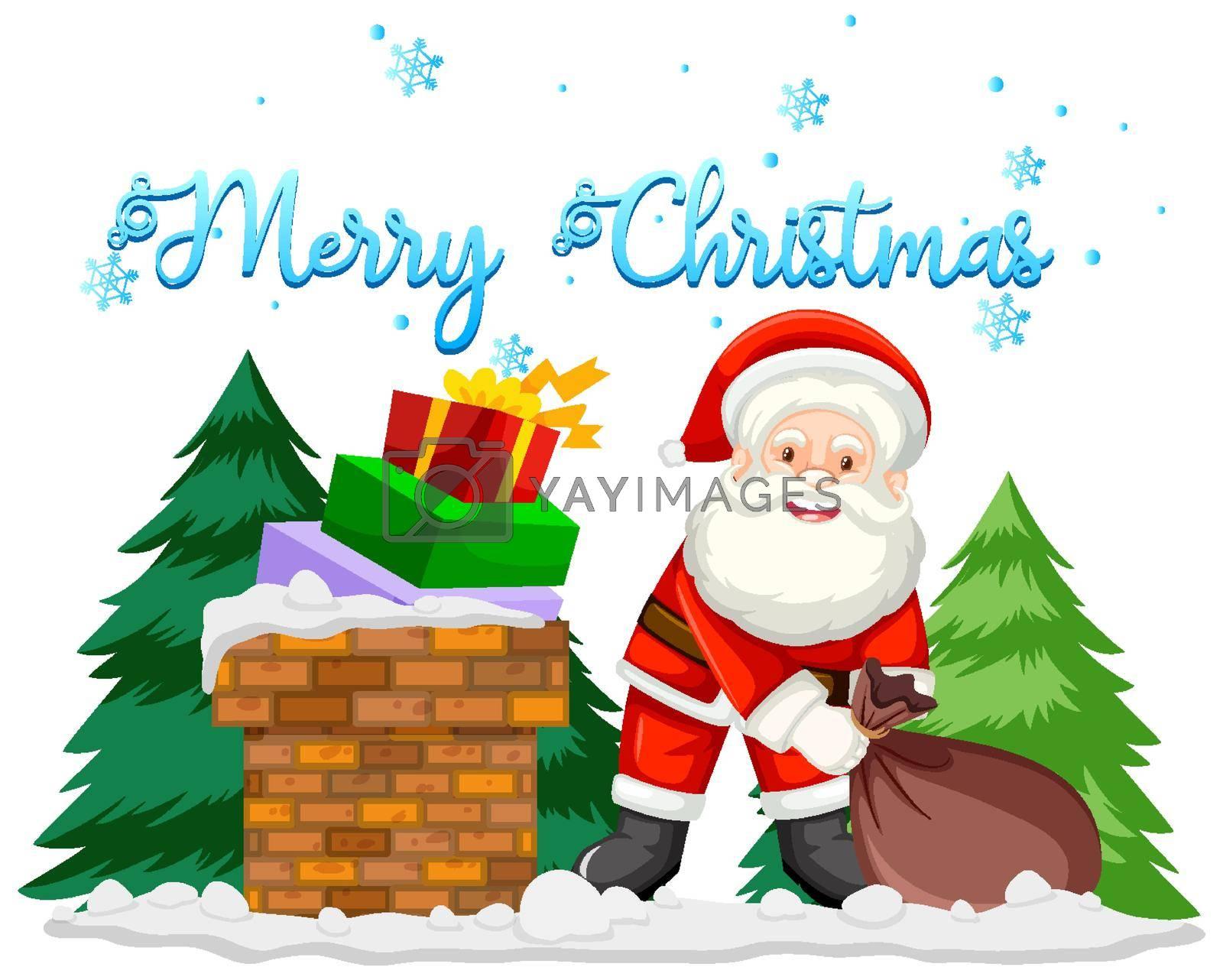 Christmas theme with Santa and presents illustration