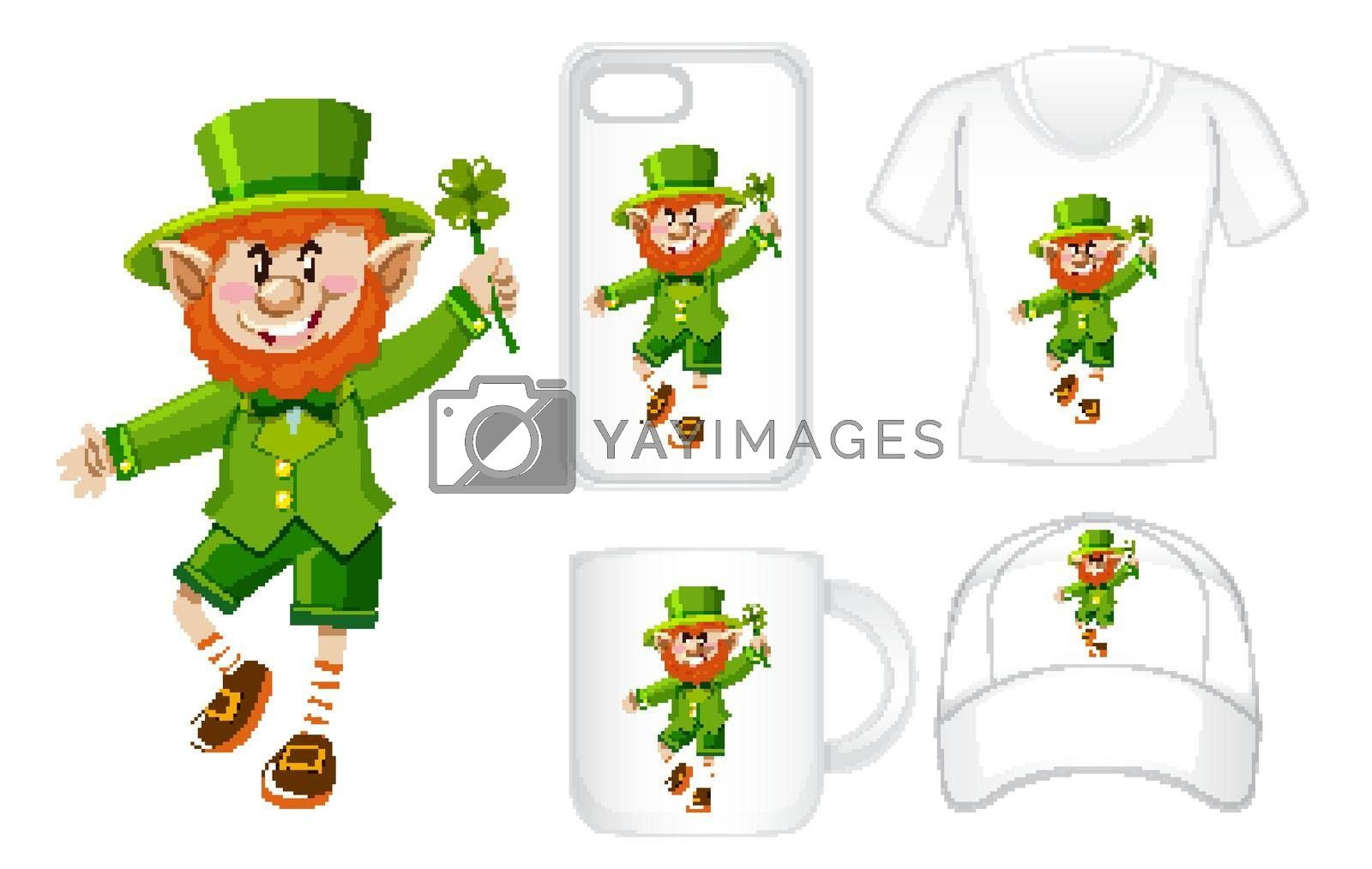 Graphic design on different products with leprechaun illustration