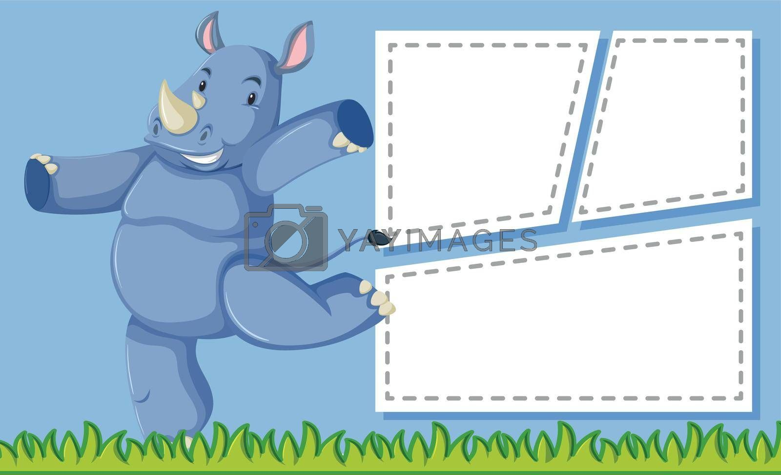 A rhinoceros on note template illustration