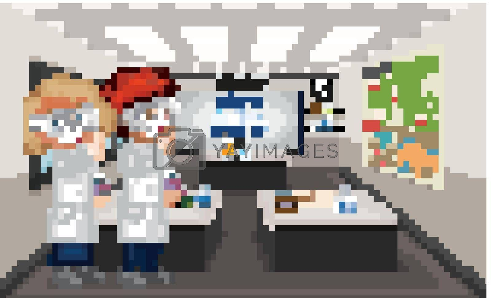 Classroom scene with boy and girl doing lab illustration