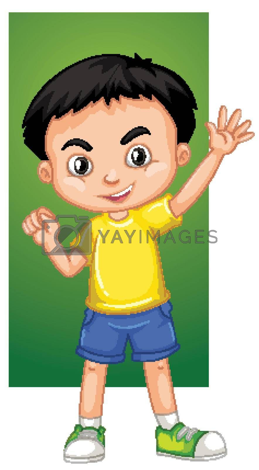 Happy boy waving hand illustration