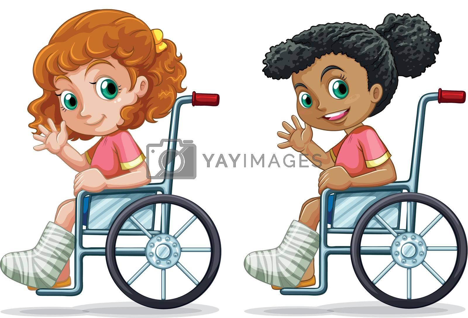 Set of girls on wheelchair illustration