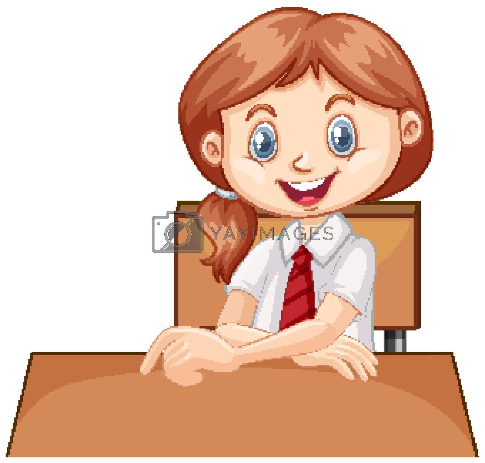 One happy girl sitting on the desk illustration