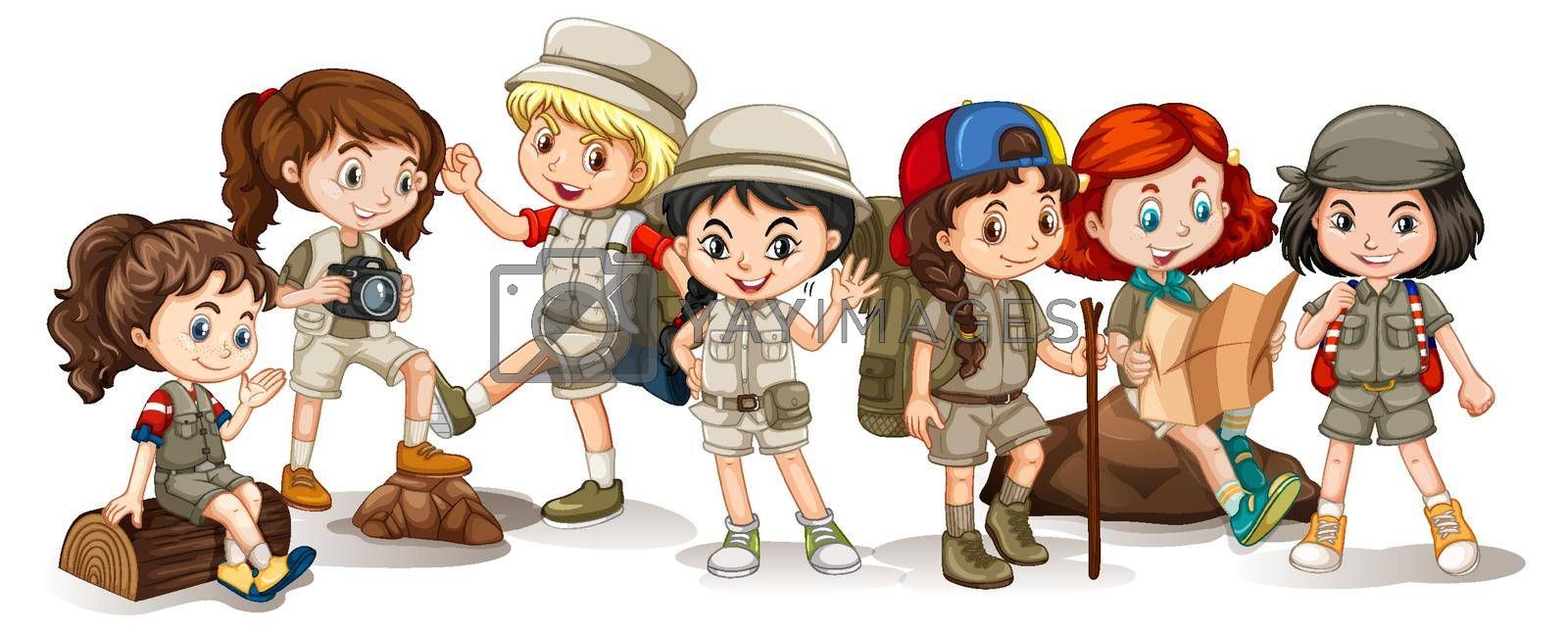 Happy children in different actions illustration