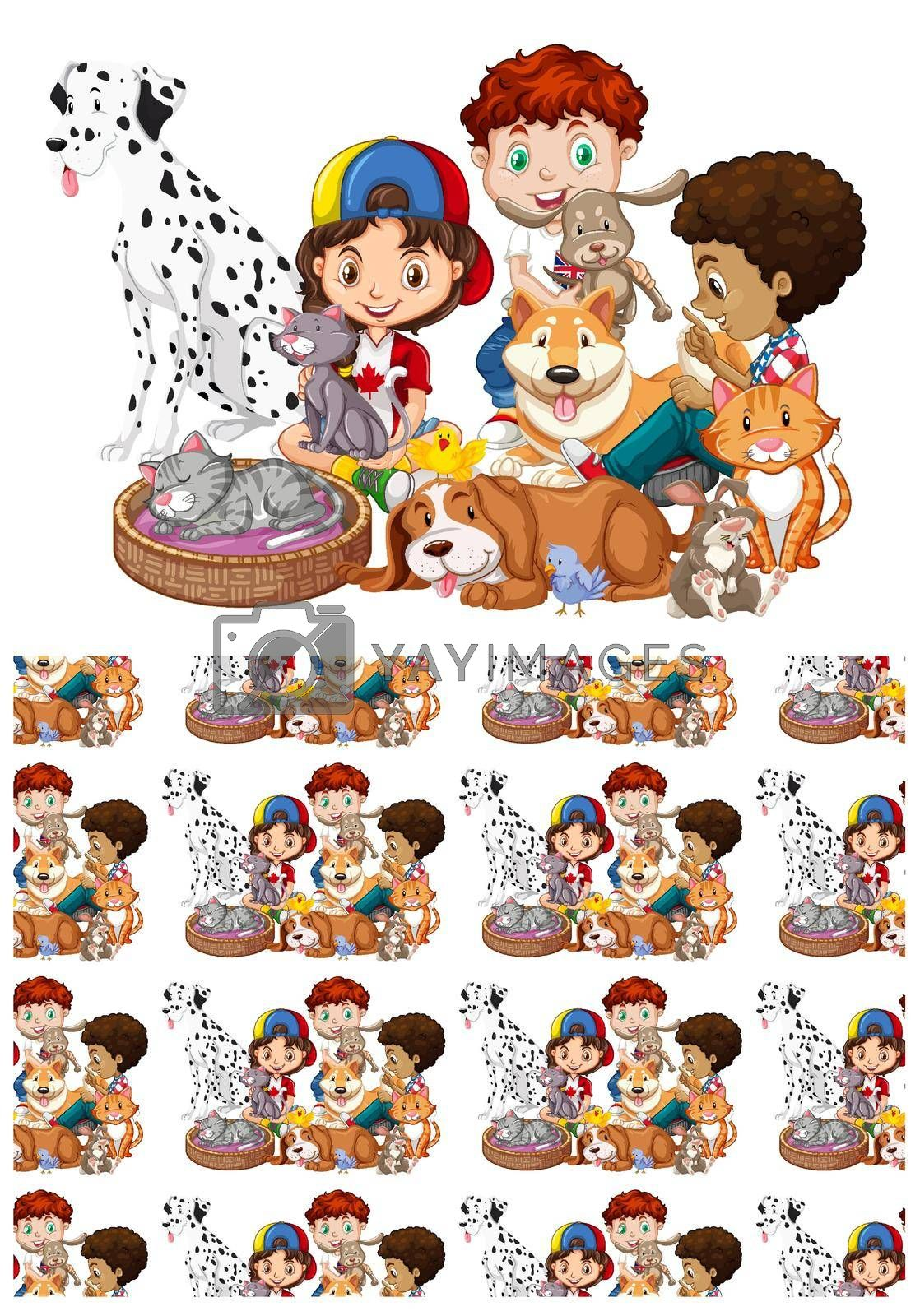Royalty free image of Seamless background design with children and pets by iimages
