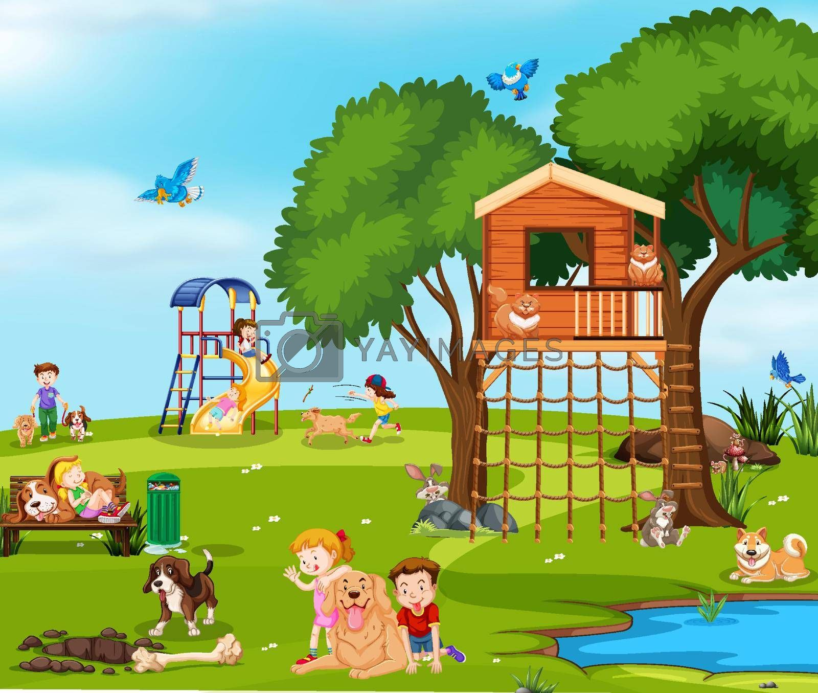Royalty free image of Children playing with pets in the park by iimages