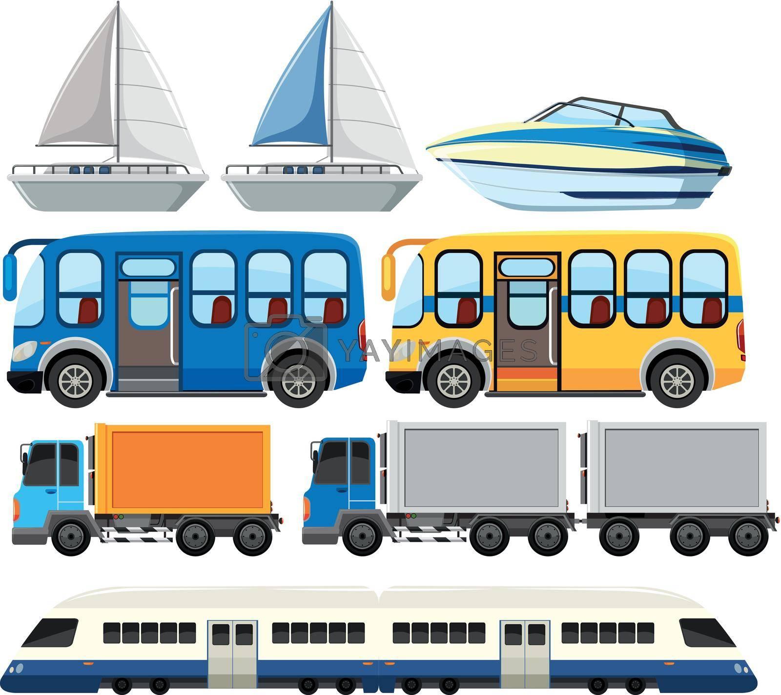 Set of modern transportation illustration