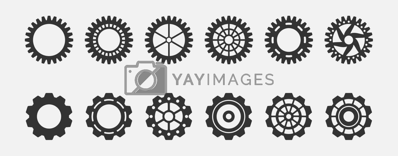 set of gears for technical design. Simple Style