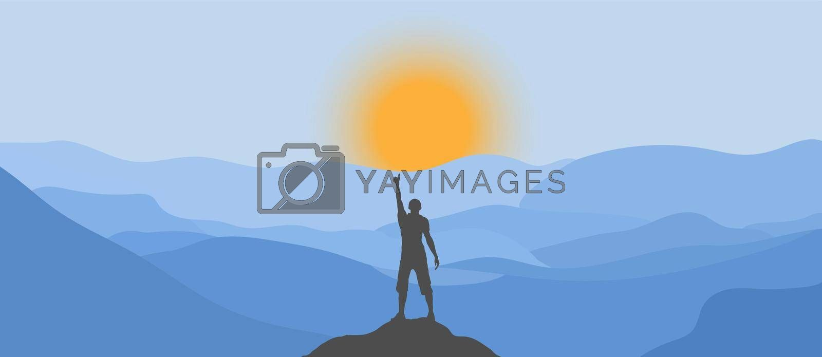 silhouette of a man on top of a mountain and the sun rising from behind the mountains. Simple Style