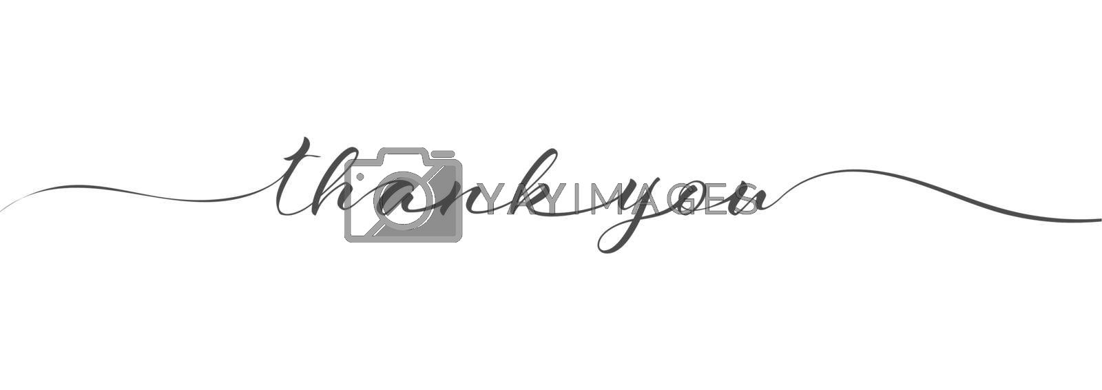 Stylized calligraphic inscription thank you in one line. Simple Style