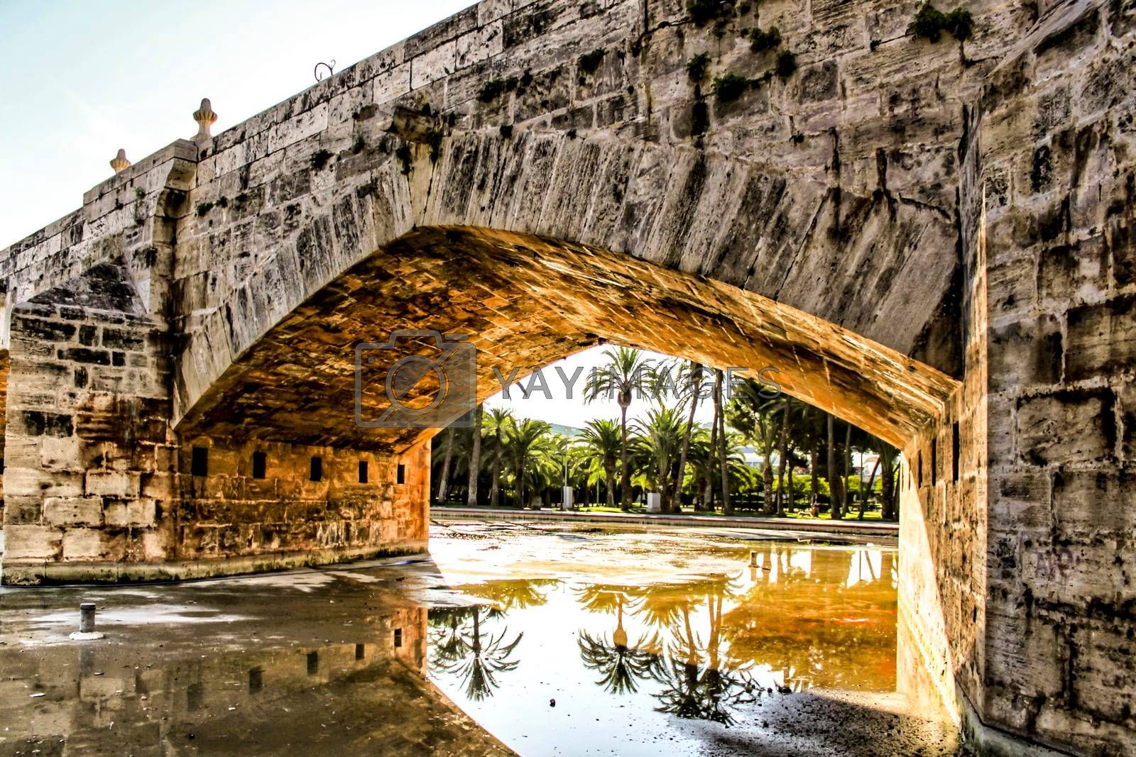 Old Stone bridge and reflections in a park puddle in Valencia
