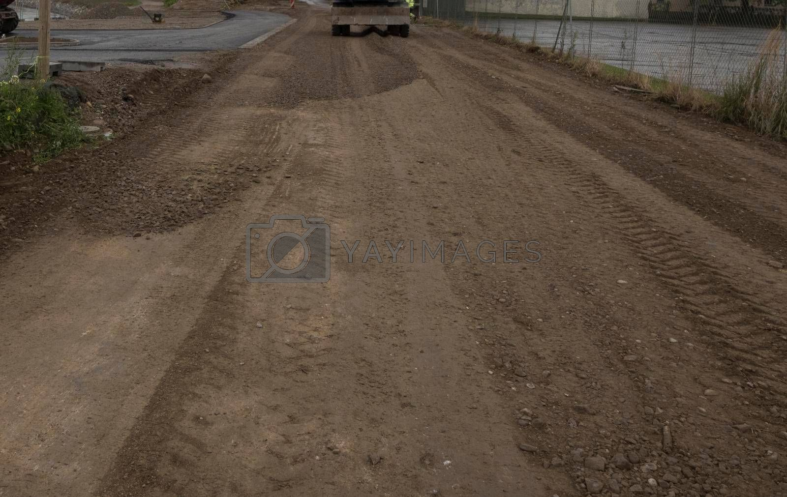 unpaved road or dirt road, traffic and transport at construction site