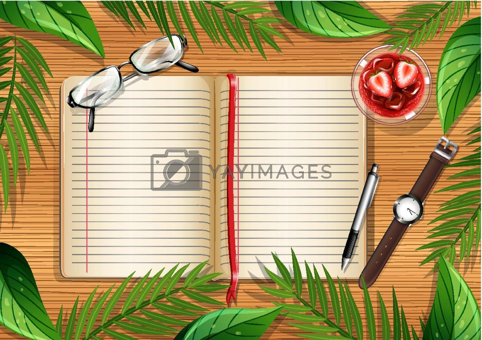 Top view of wooden table with blank page of book and office objects and leaves element illustration