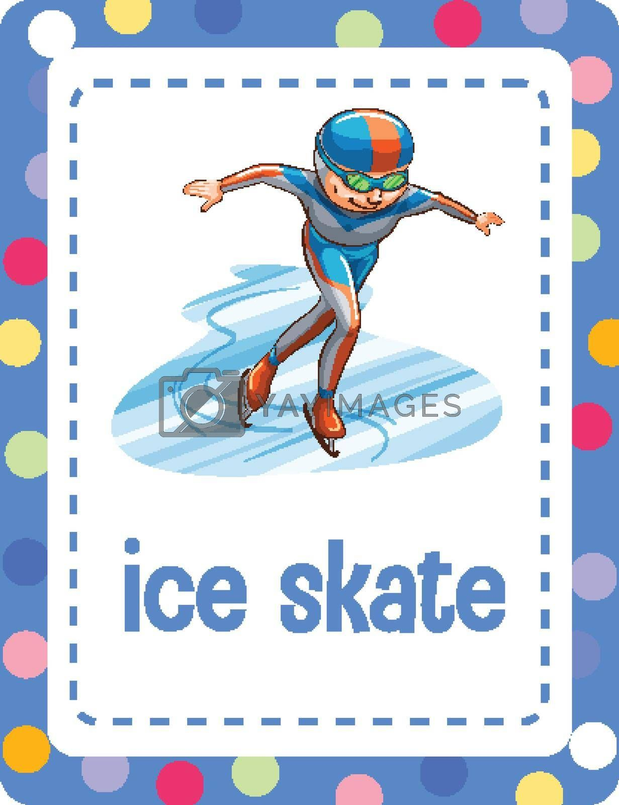 Vocabulary flashcard with word Ice skate illustration