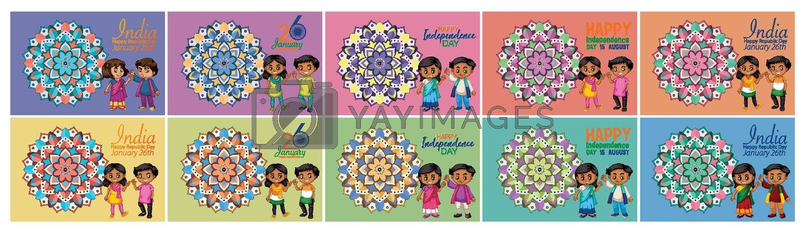India Independence day posters in different color backgrounds illustration
