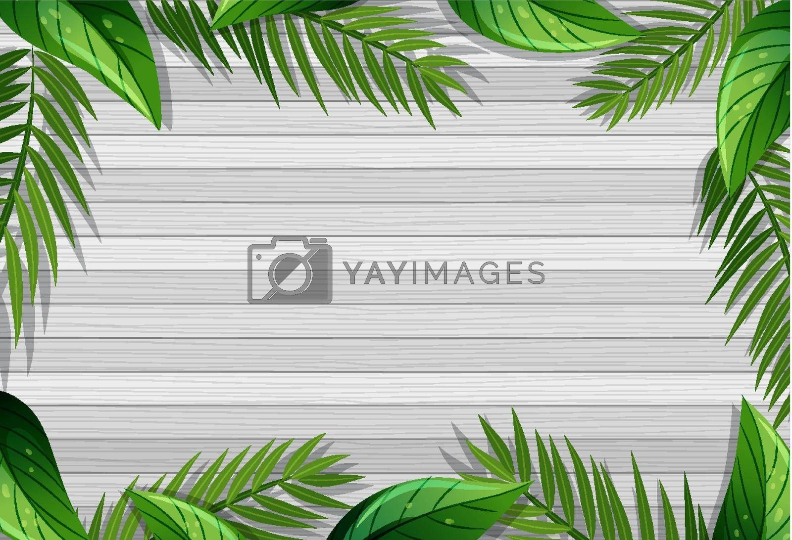 Top view of blank wooden table with leaves elements illustration
