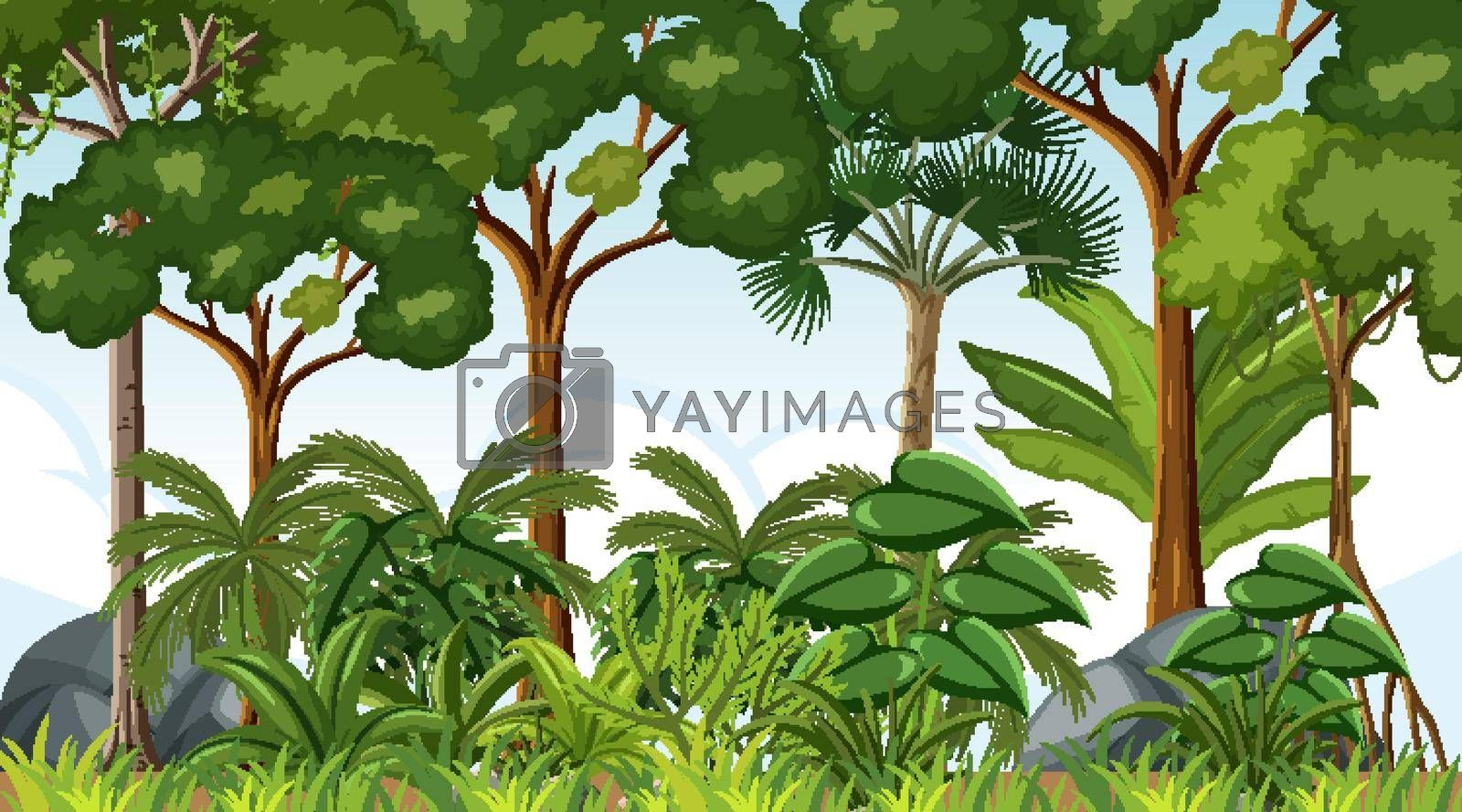 Forest landscape scene at day time with many trees illustration