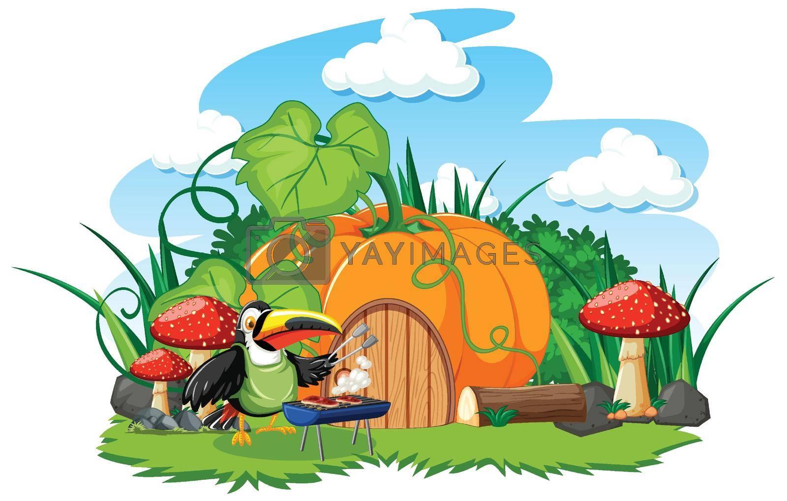 Pumpkin house with cute bird cartoon style on white background illustration