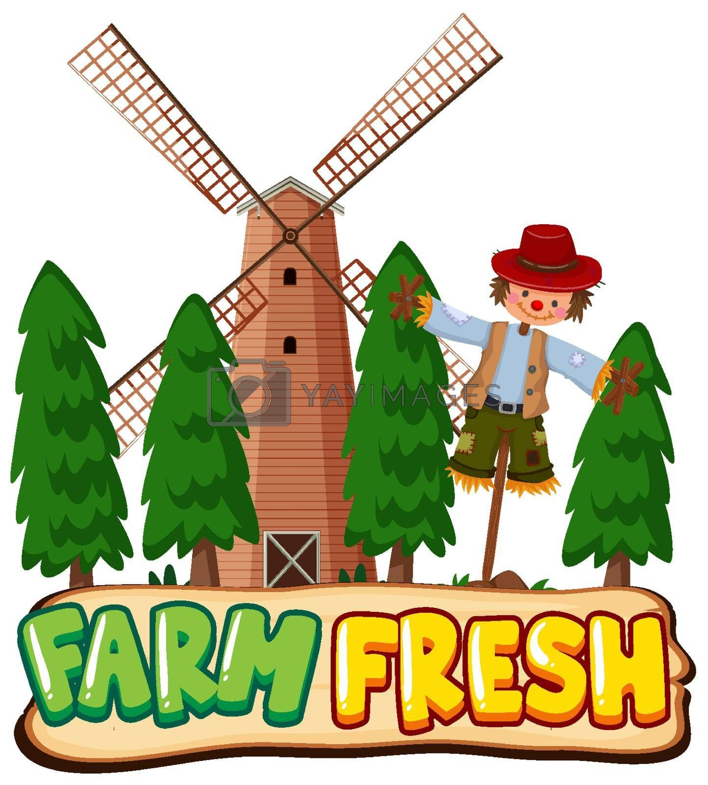Font design for word farm fresh with scarecrow and windmill illustration