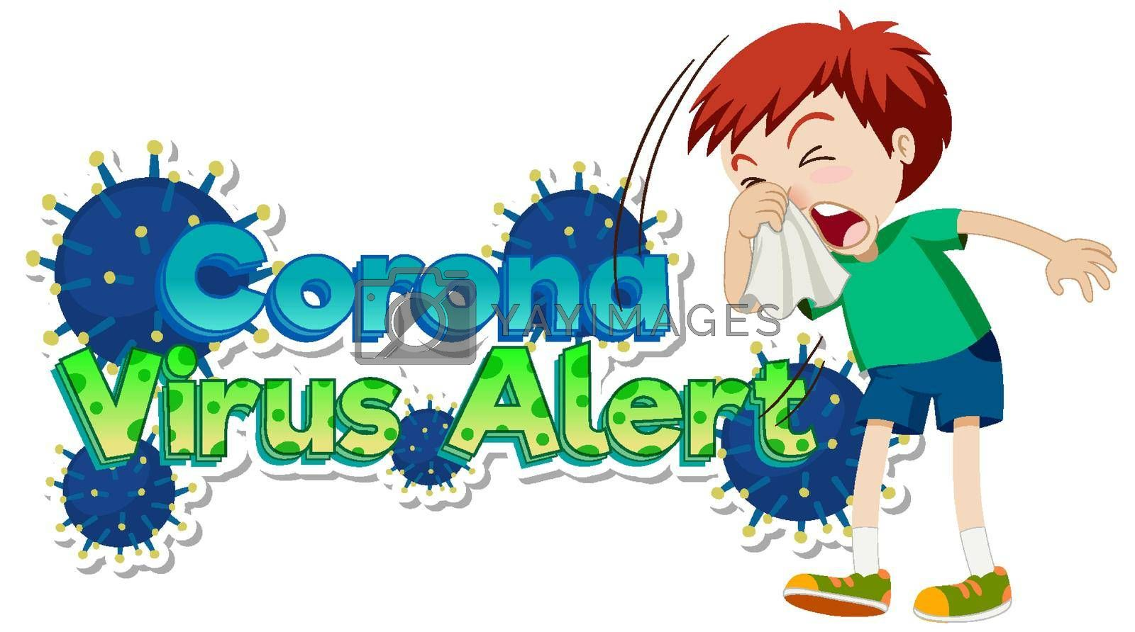 Poster design for coronavirus theme with boy coughing illustration