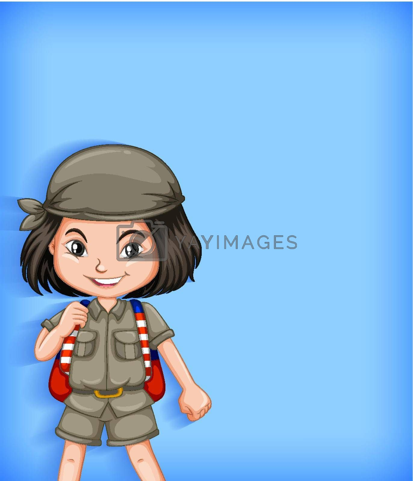 Girl scout cartoon character illustration