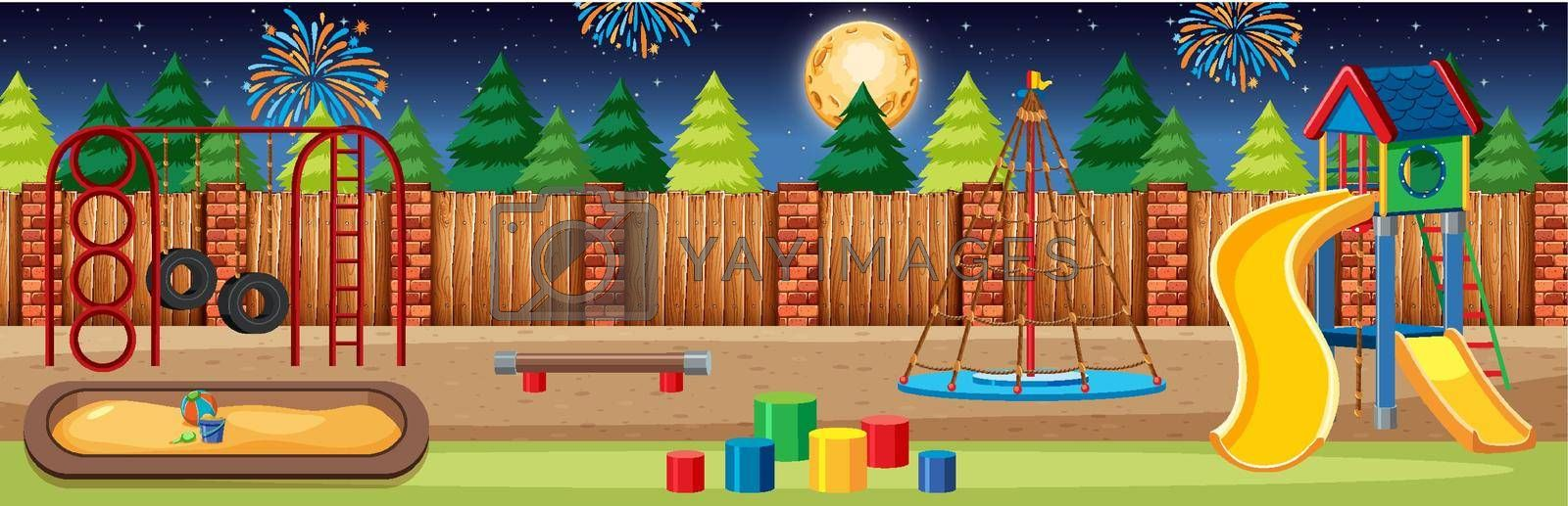 Kids playground in the park with big moon and fireworks in the sky at night cartoon style panorama scene illustration