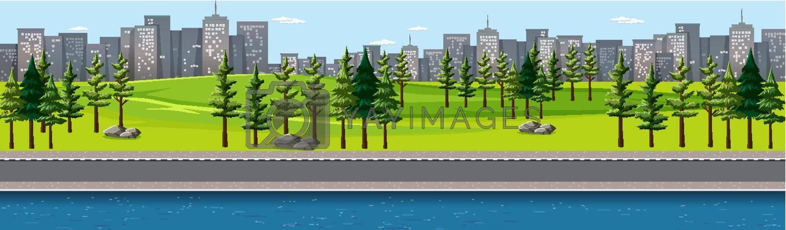 City nature park with river side landscape scene illustration