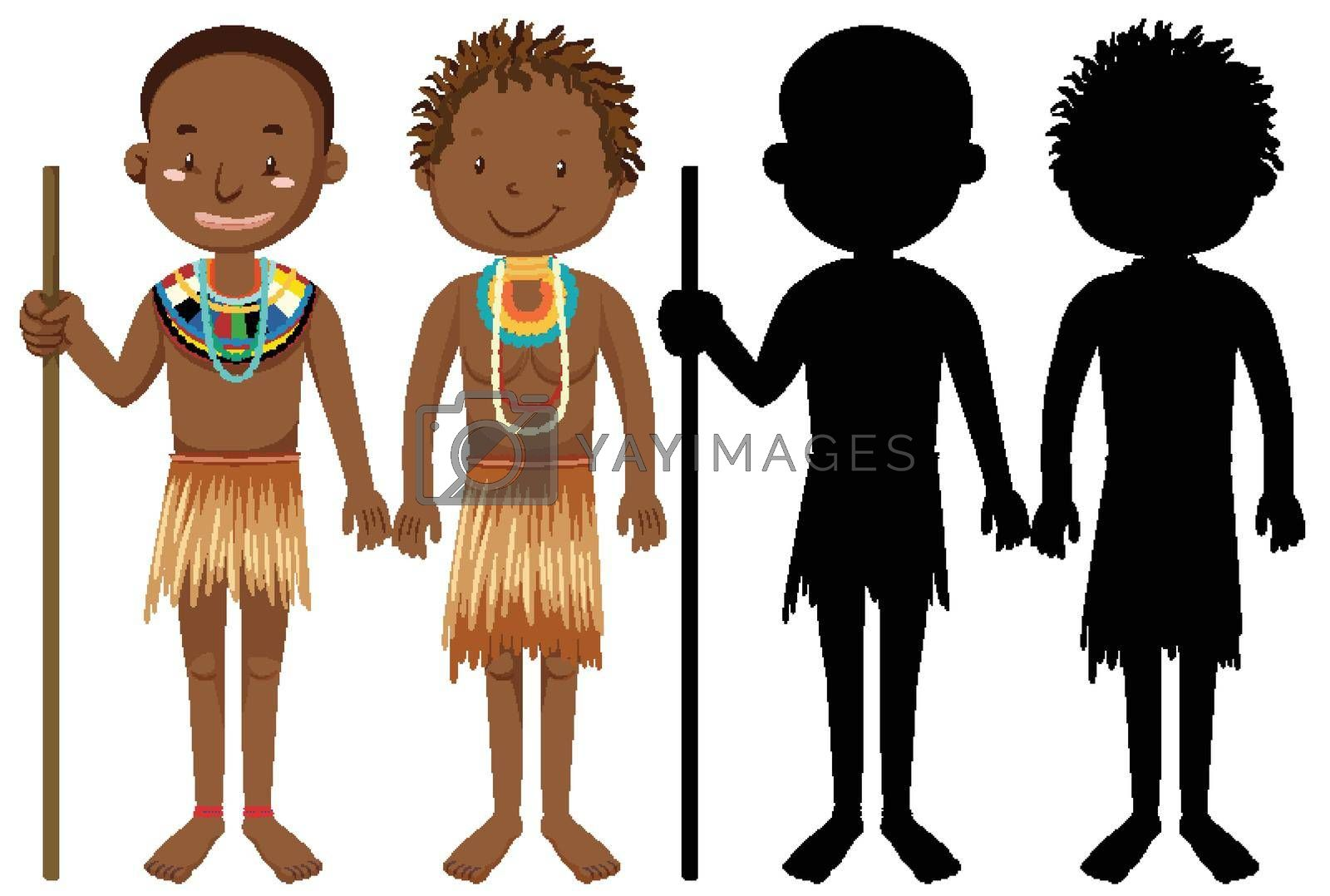 Set of people of African tribes character with its silhouette illustration