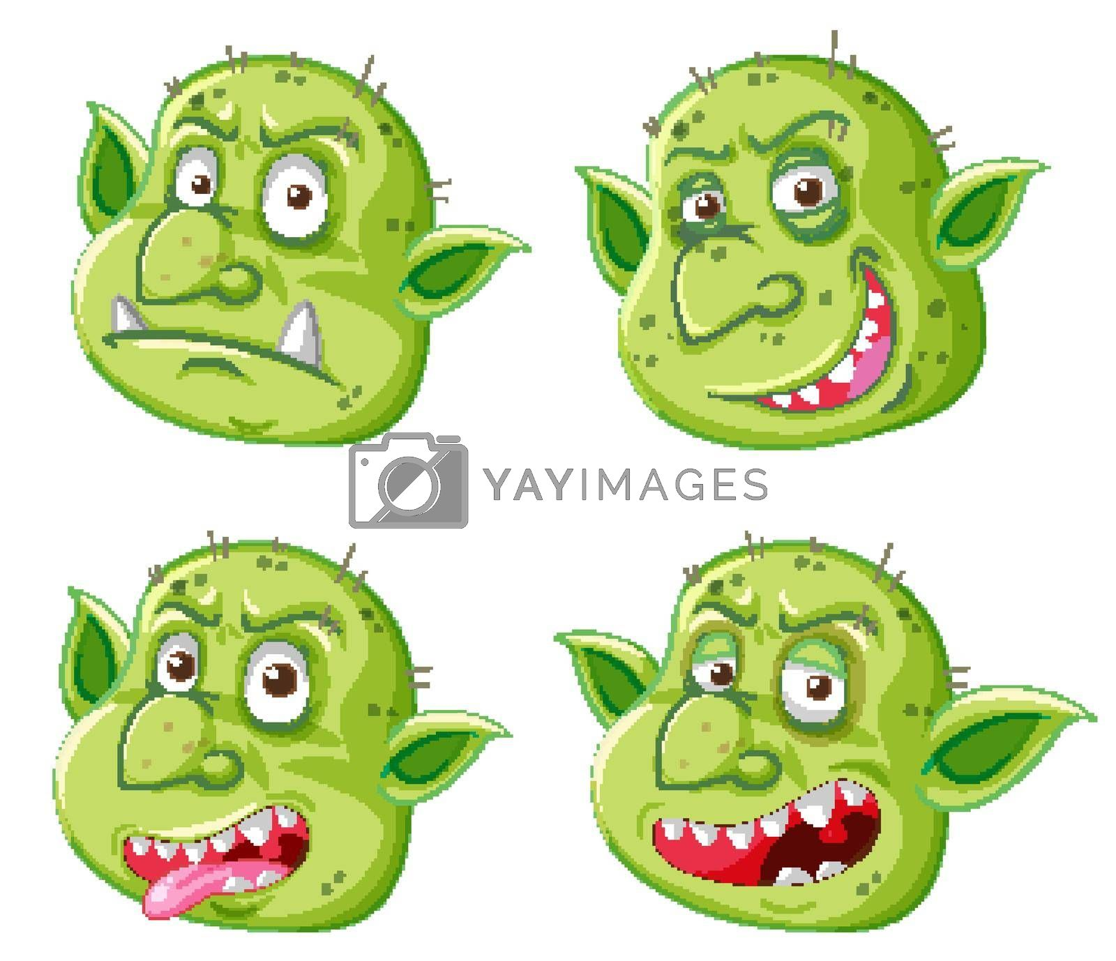 Royalty free image of Set of green goblin or troll face in different expressions in cartoon style isolated by iimages