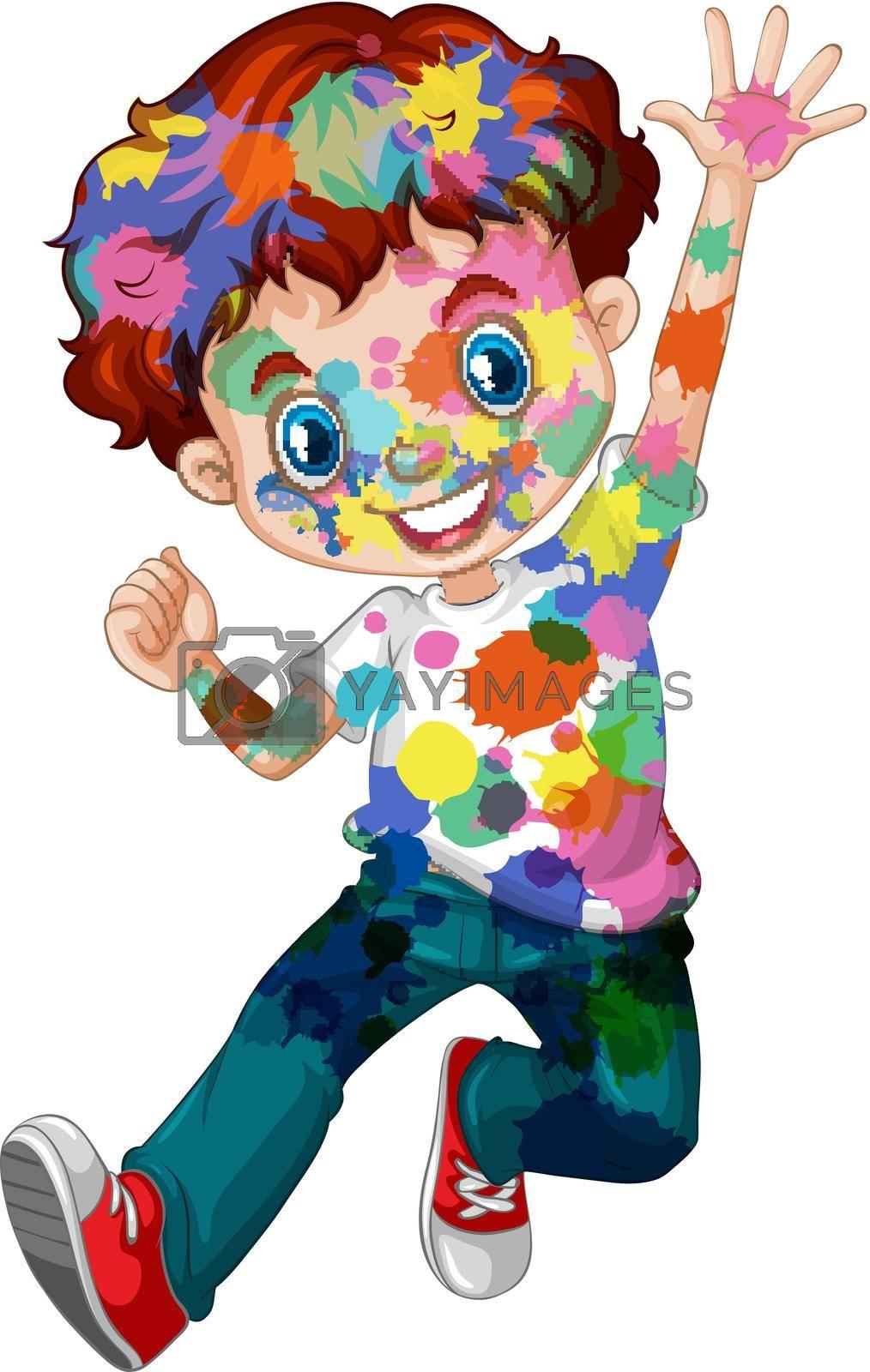 Happy boy with watercolor splash on his body illustration