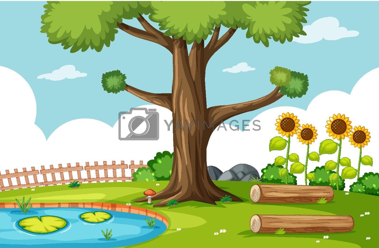 Nature park scene with swamp and sunflower scene illustration